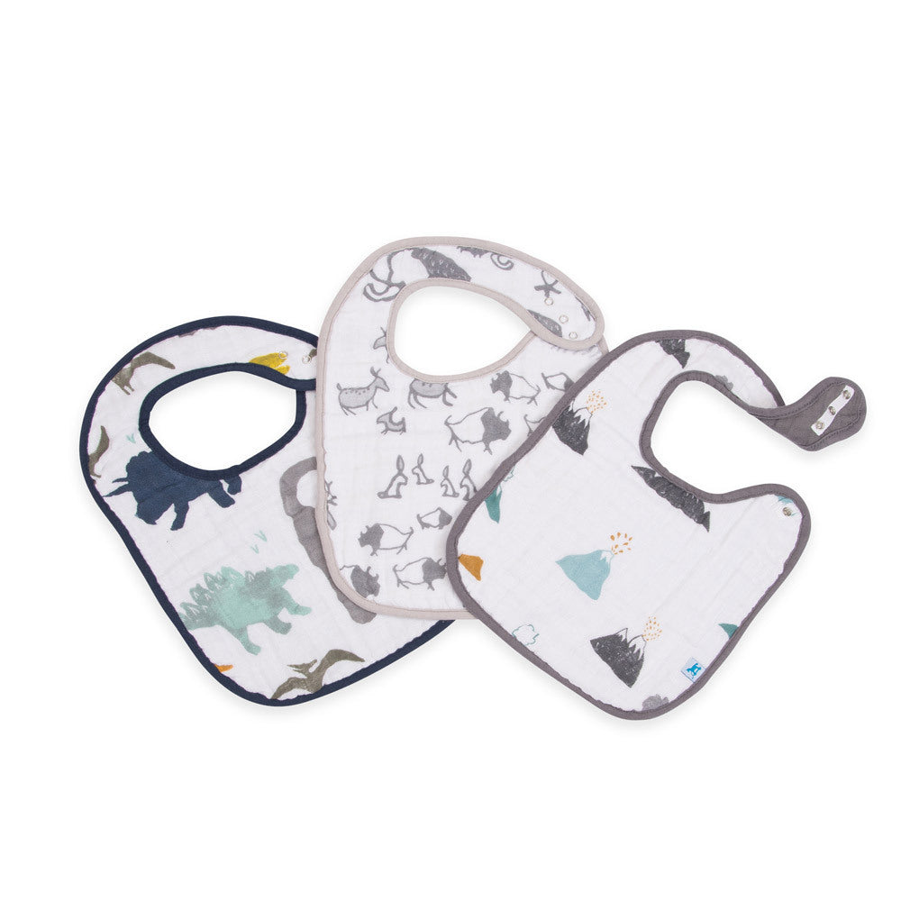 Cotton Muslin Classic Bib | 3pk - Dino Friends