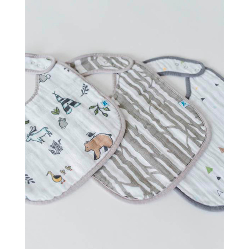Cotton Muslin Classic Bib | 3pk - Forest Friends