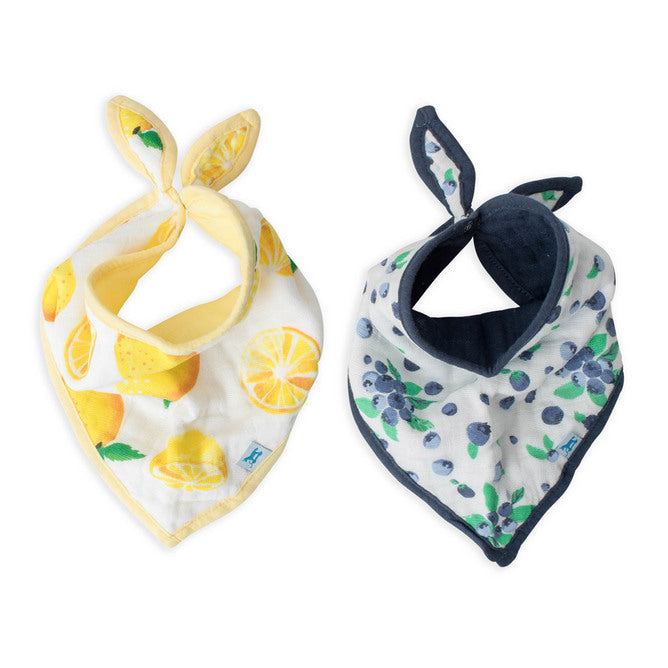 Cotton Muslin Bandana Bib | 2pk - Berry Lemonade