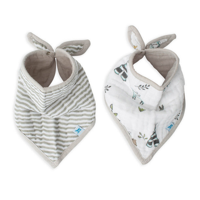 Cotton Muslin Bandana Bib | 2pk - Forest Friends