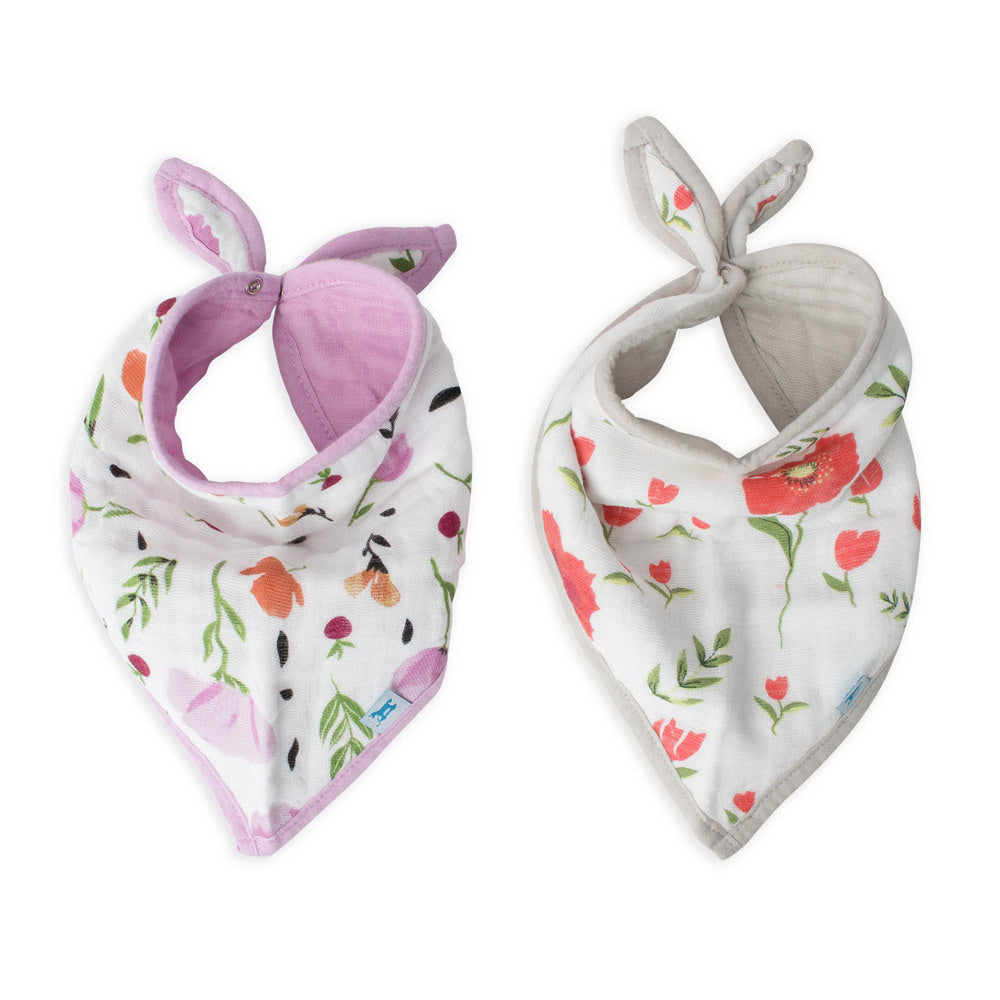 Cotton Muslin Bandana Bib | 2pk - Summer Poppy