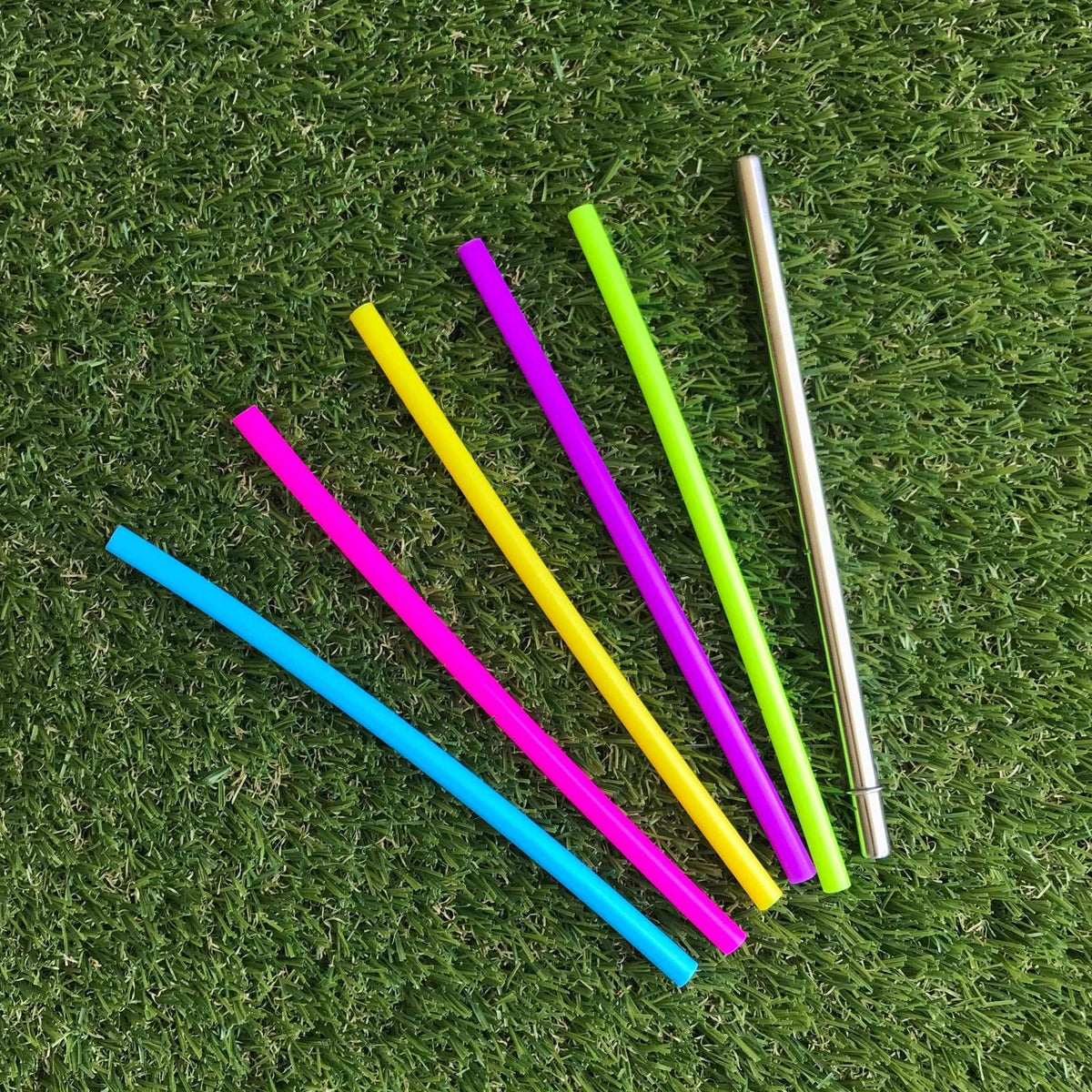 Mini Silicone Straw Set - Rainbow 6pk