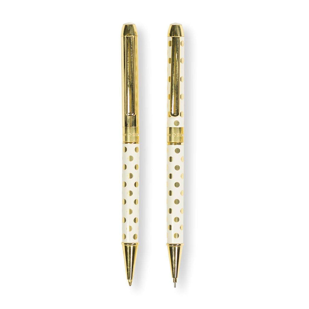 Gold Dot Pen & Pencil Set - White & Gold