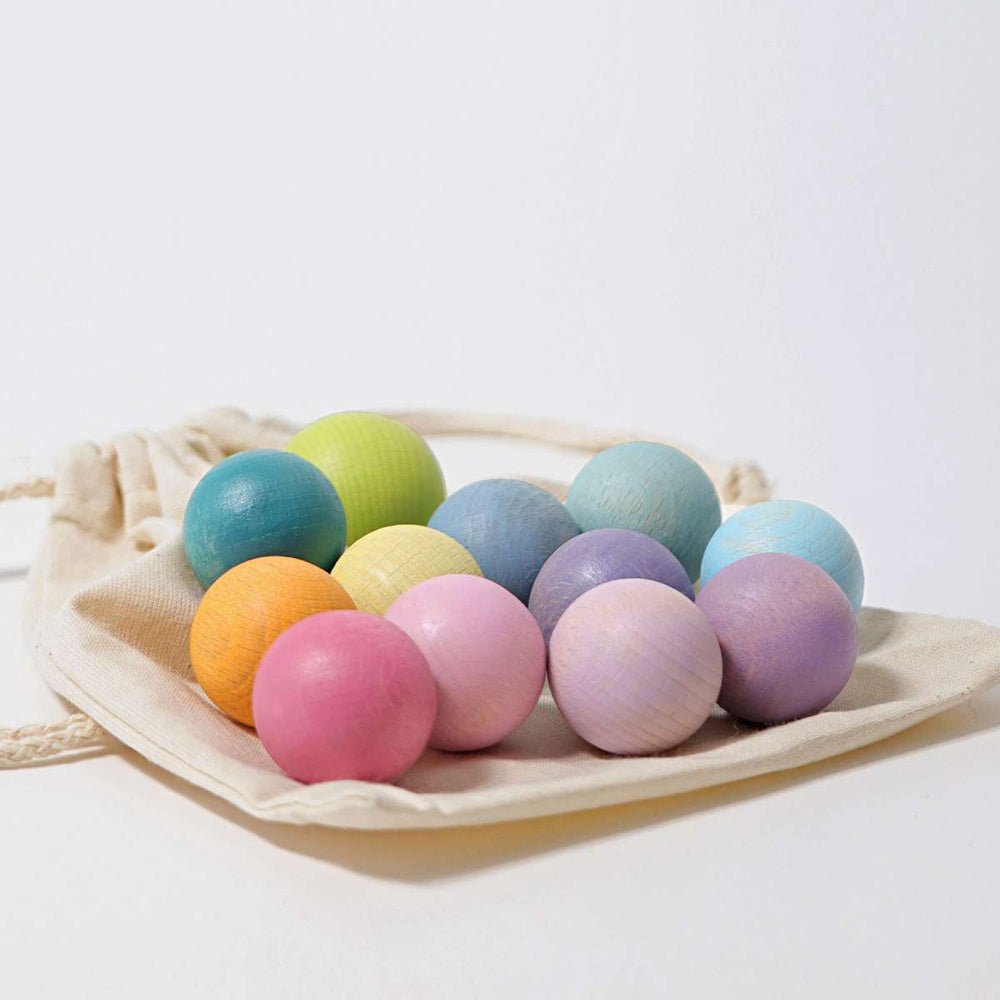 Small Wooden Balls | Pastel - 12 pack