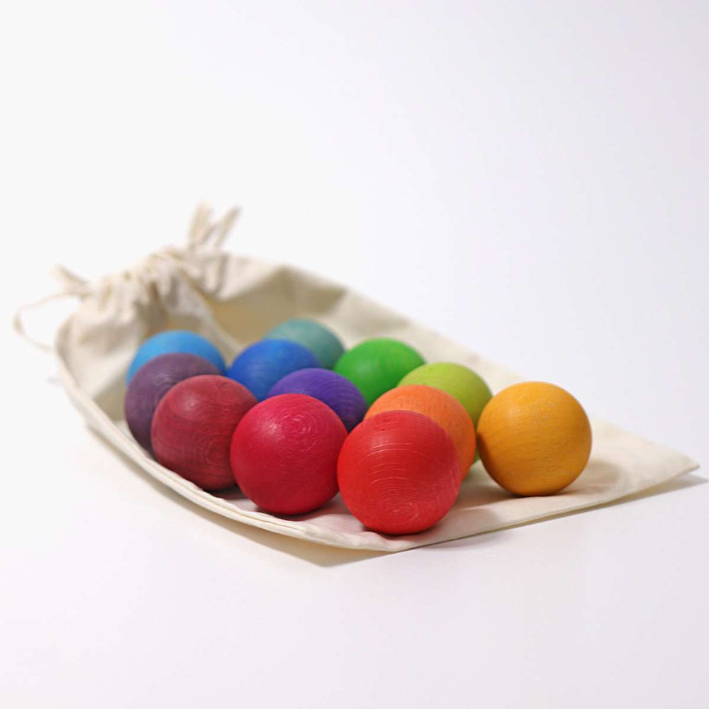 Small Wooden Balls | Rainbow - 12 pack