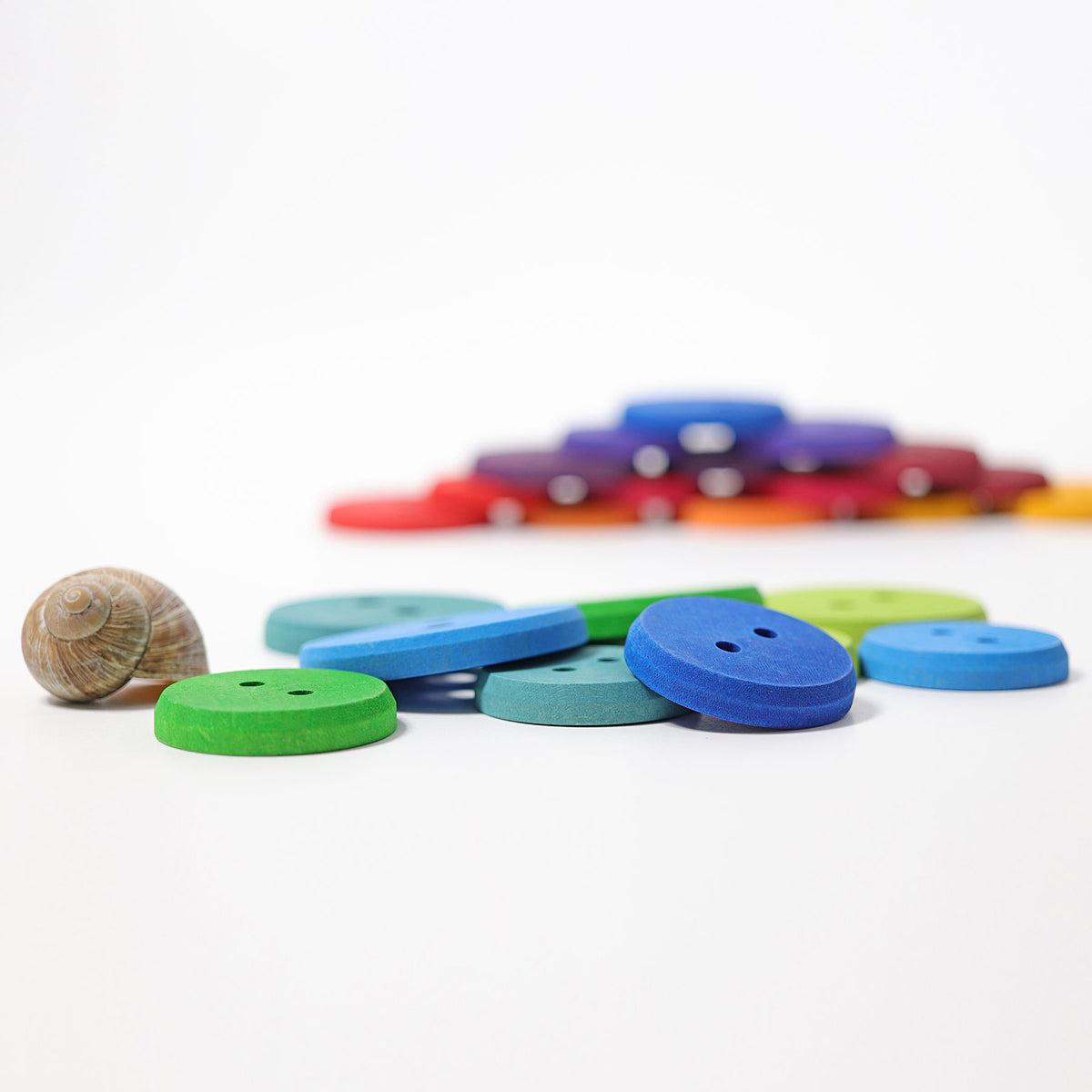 Large Wooden Threading Buttons - Rainbow