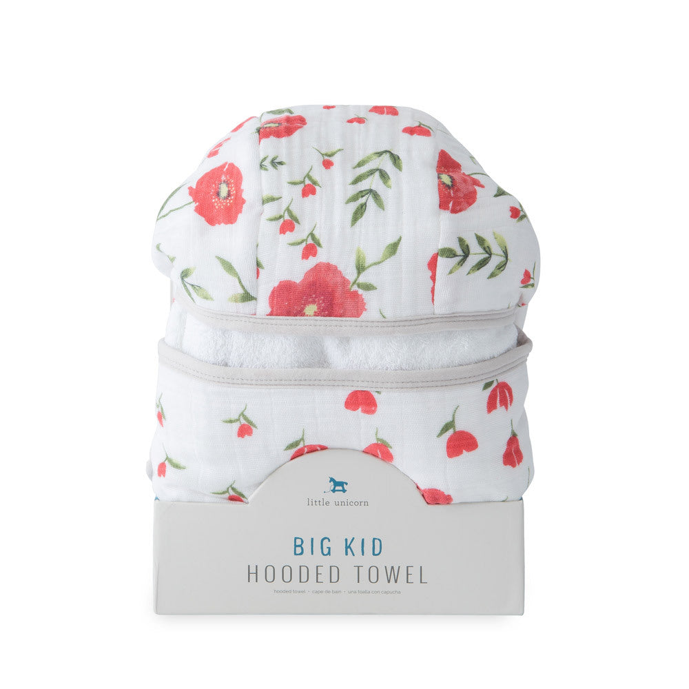 Big Kid Hooded Towel - Summer Poppy