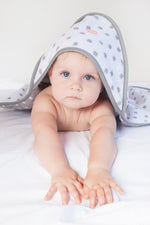Baby Hooded Towel | Grey Dot