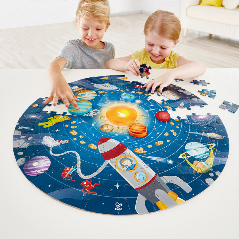 Solar System Puzzle with LED Sun + Poster
