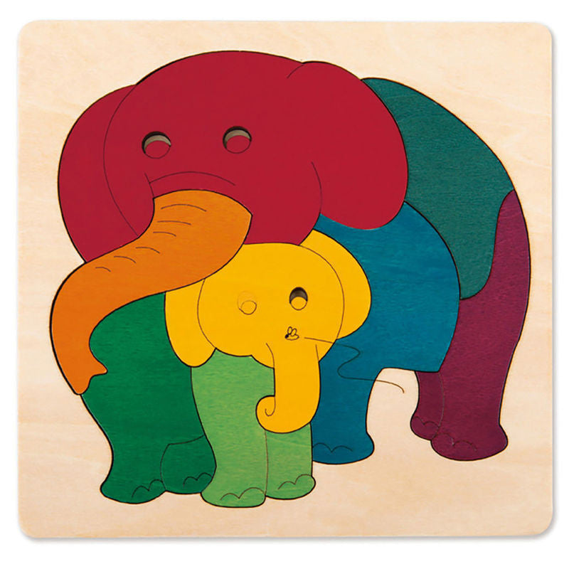 George Luck Wooden Puzzle - Rainbow Elephant & Baby