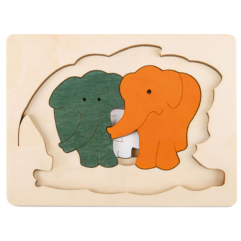 George Luck Wooden Layer Puzzle - Elephants