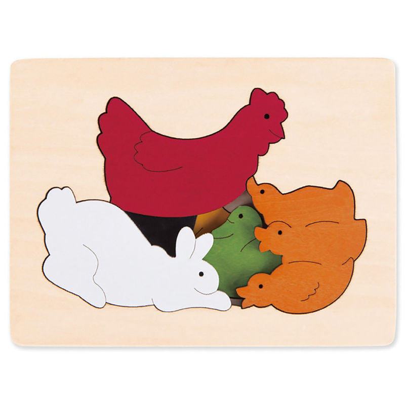 George Luck Wooden Layer Puzzle - Chickens & Friends