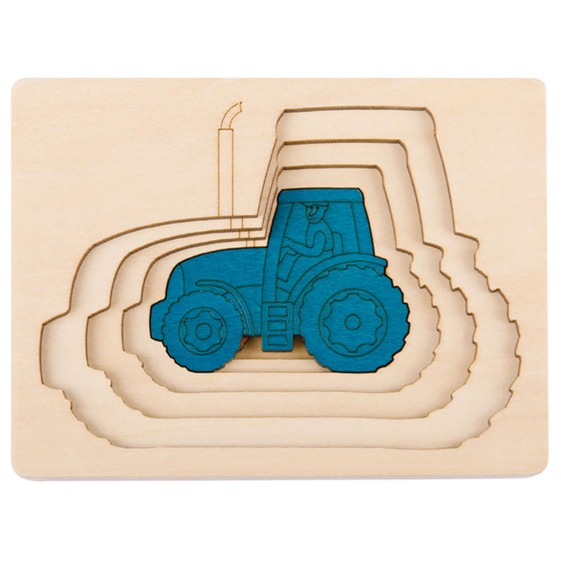 George Luck Wooden Layer Puzzle - Five Tractors