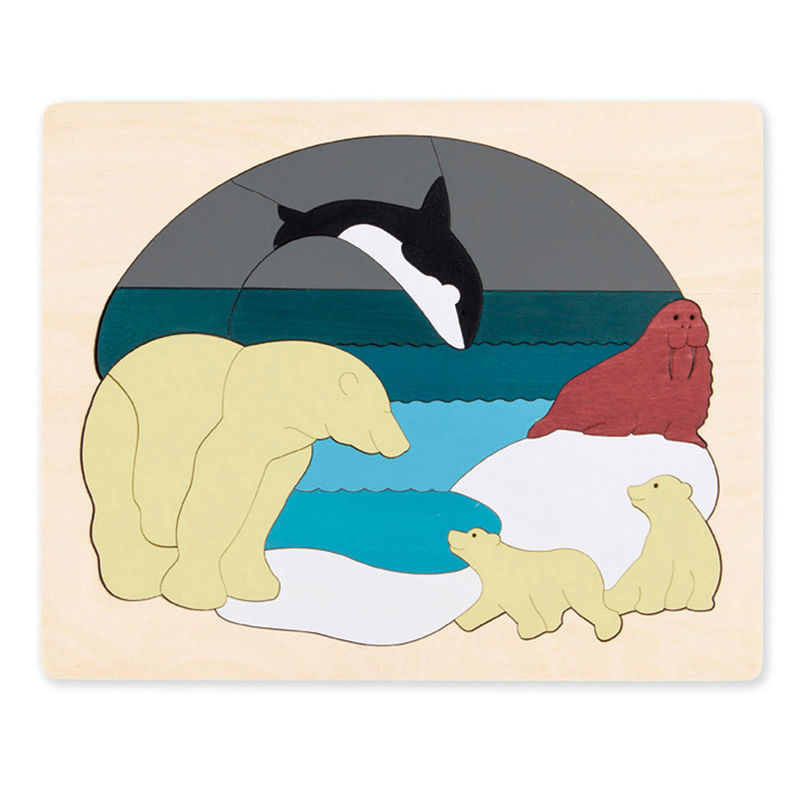 George Luck Wooden Layer Puzzle - Arctic Animals