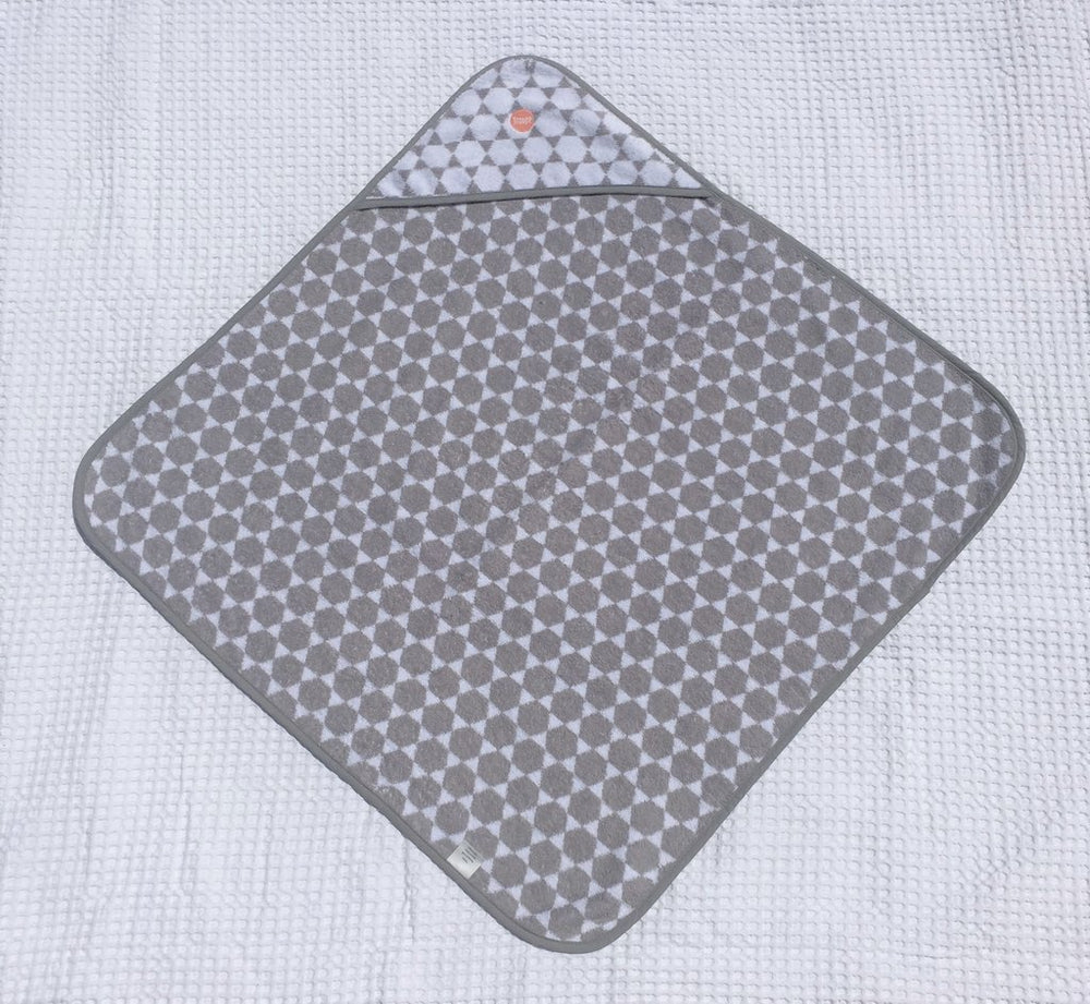 Baby Hooded Towel | Grey Honeycomb