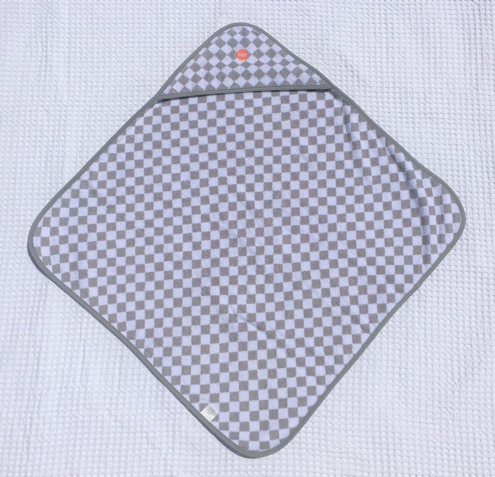 Baby Hooded Towel | Grey Checkerboard