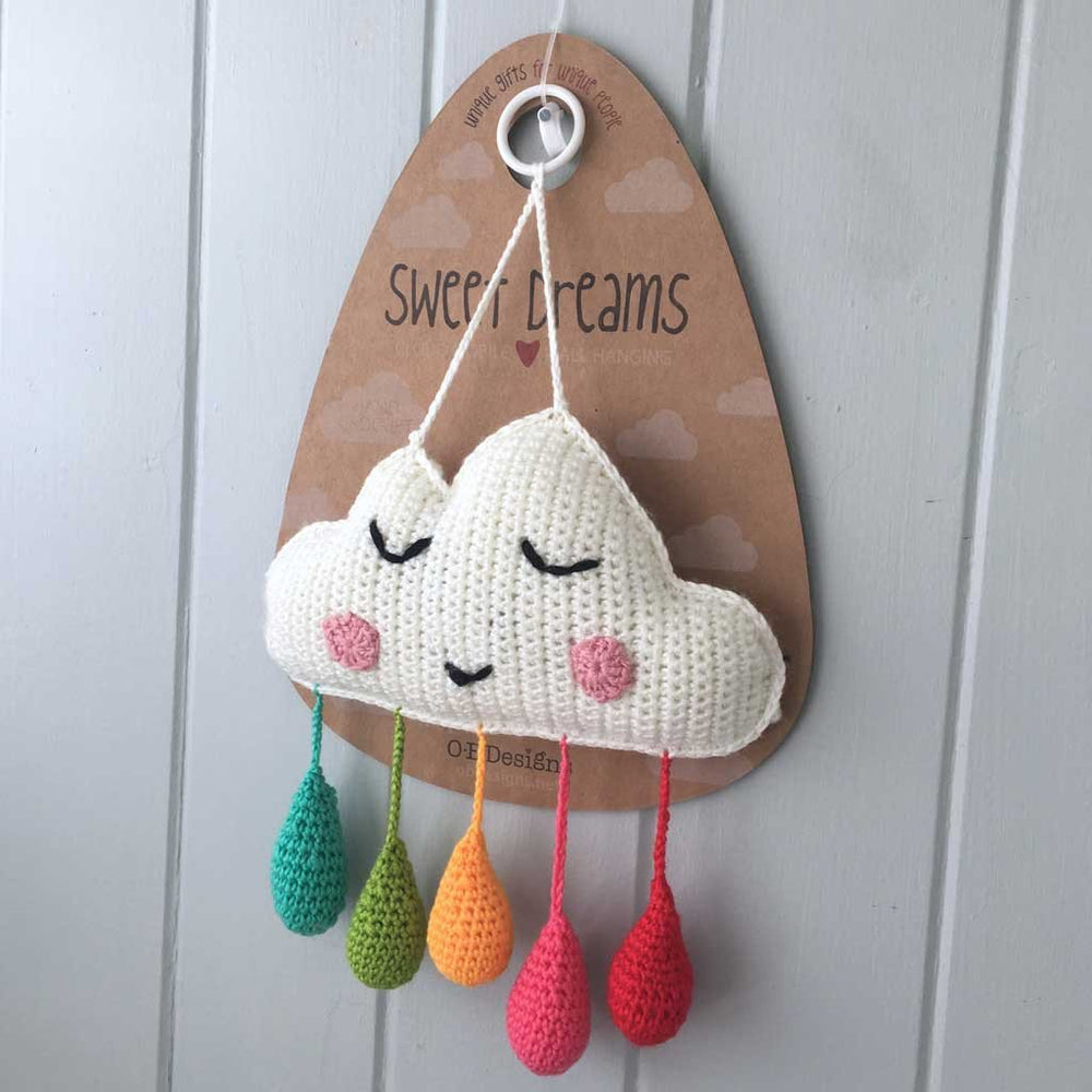 Crocheted Cloud Wall Hanging - Rainbow