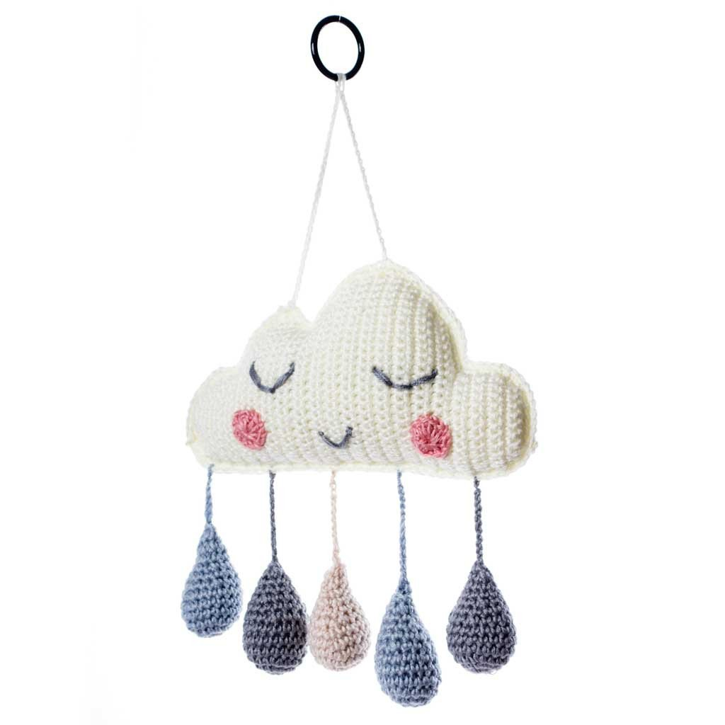 Crocheted Cloud Wall Hanging - Blue