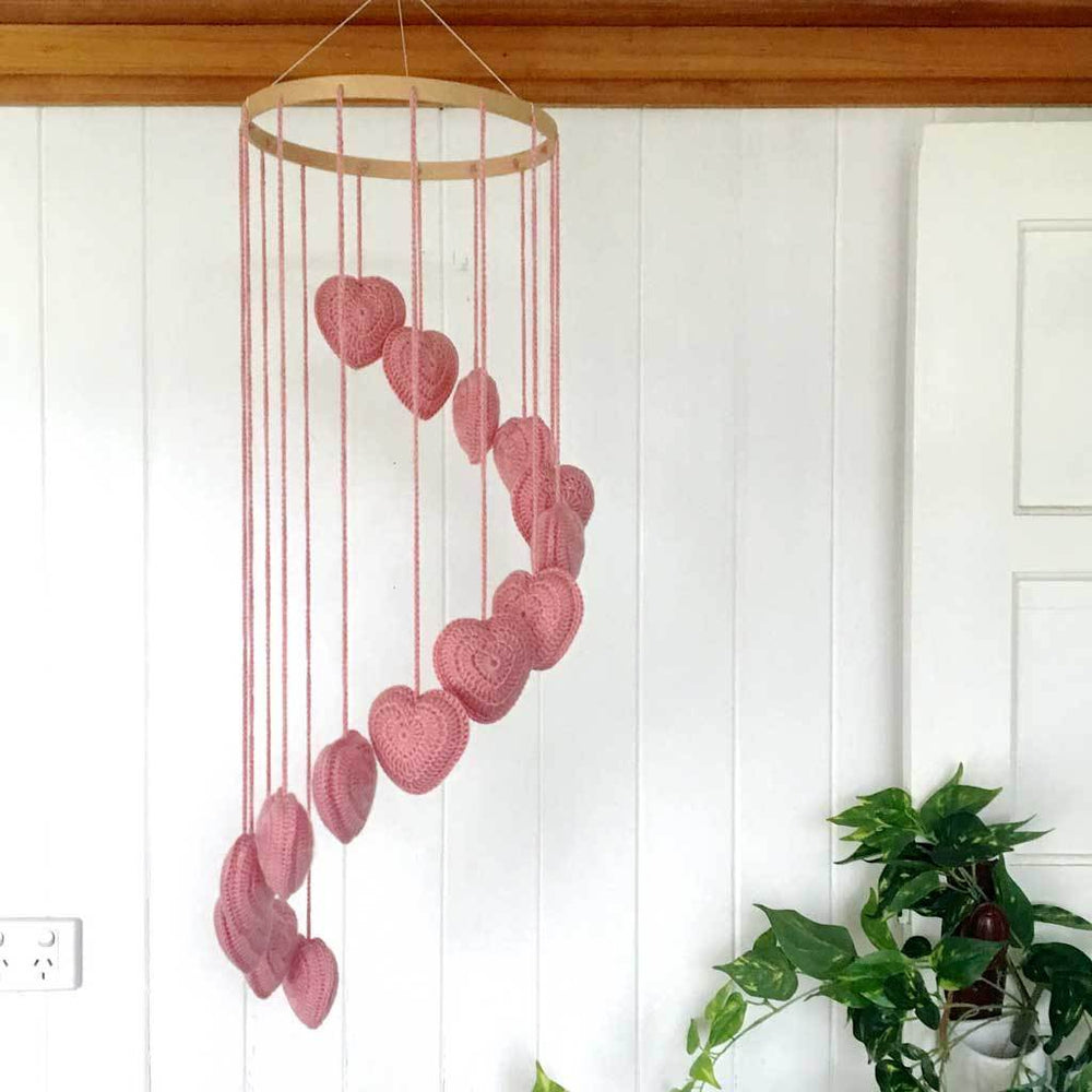 Crocheted Heart Mobile - Blush