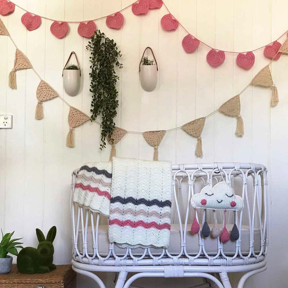 Crocheted Cloud Wall Hanging - Pink