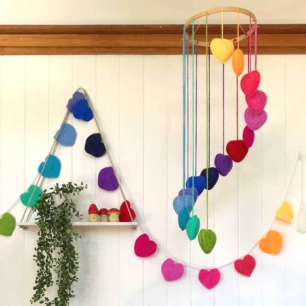 Crocheted Heart Mobile - Rainbow
