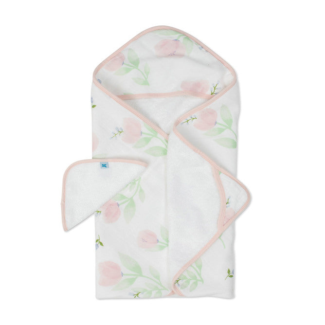 Hooded Towel & Wash Cloth - Pink Peony