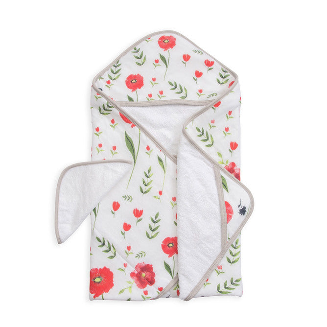 Hooded Towel & Wash Cloth - Summer Poppy