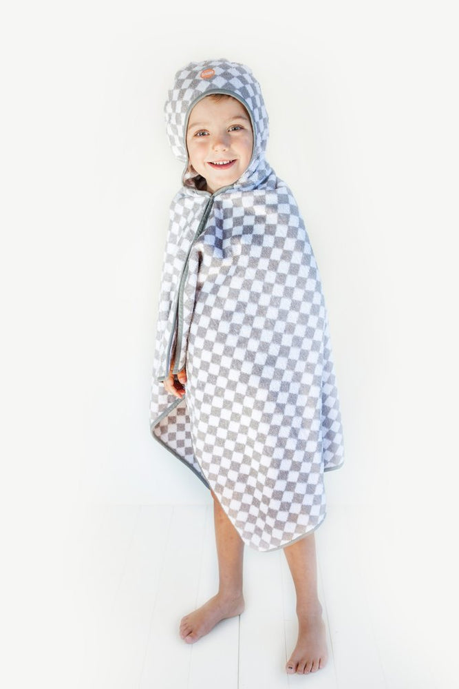 Kids Hooded Towel | Grey Checkerboard