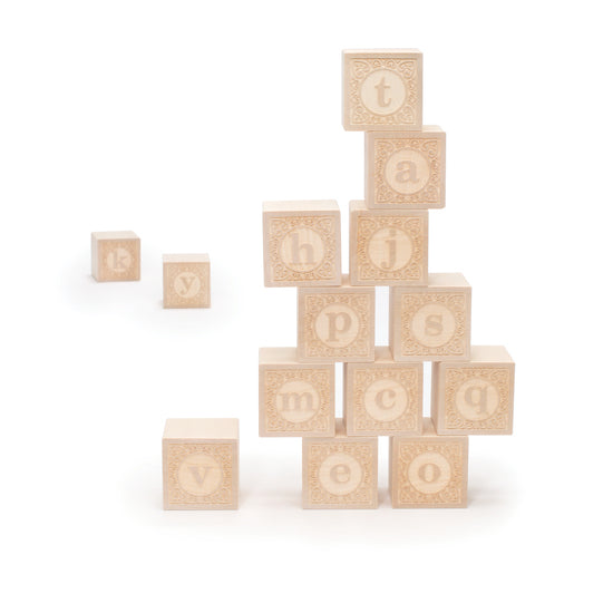 Wooden Blocks | Natural Lowercase abc - 14 pc