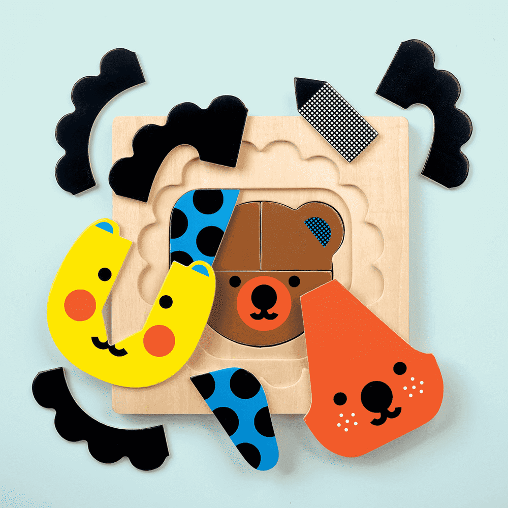 Four Layer Wooden Puzzle - Animals Faces