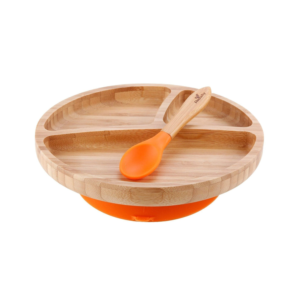 Bamboo Suction Divided Toddler Plate & Spoon