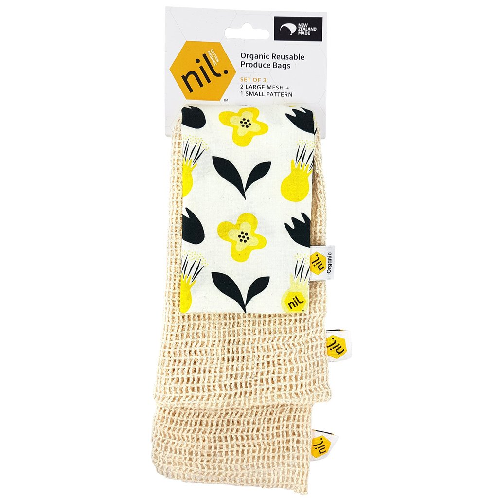 Organic Produce Bags | Mesh & Flower - 3 pack