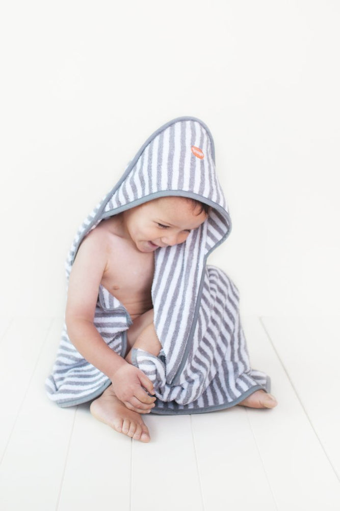 Baby Hooded Towel | Grey Stripe
