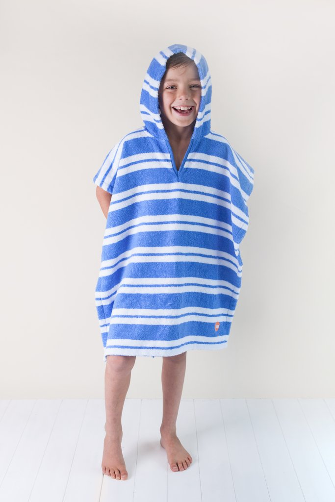 Kids Poncho | Blue Stripe
