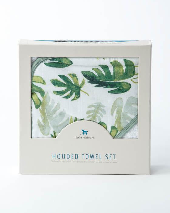 Hooded Towel & Wash Cloth - Tropical Leaf