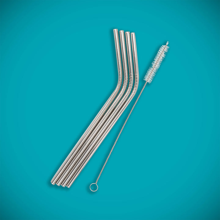Metal straw, 4 pcs + brush
