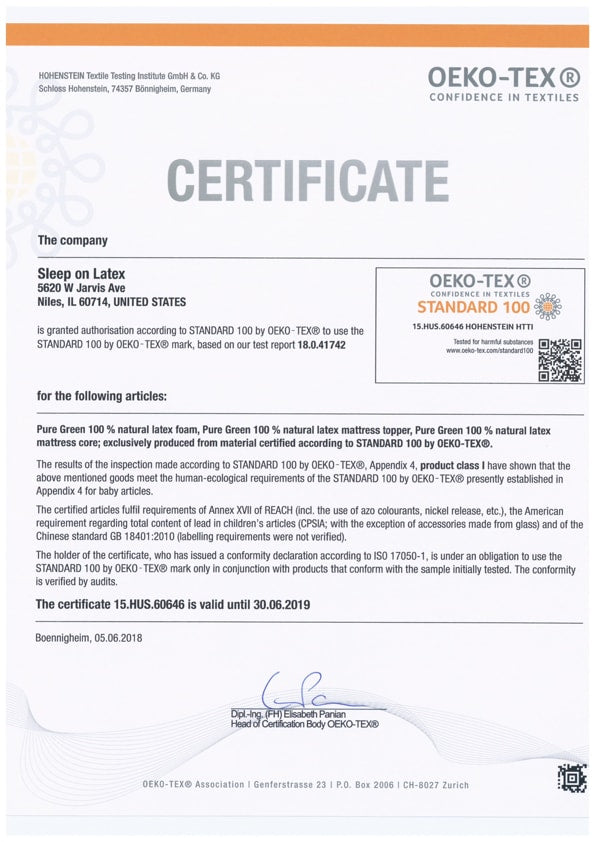 Sleep On Latex Oeko-Tex Certificate