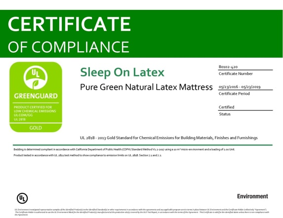 Pure Green Latex Mattress Greenguard Gold Certificate