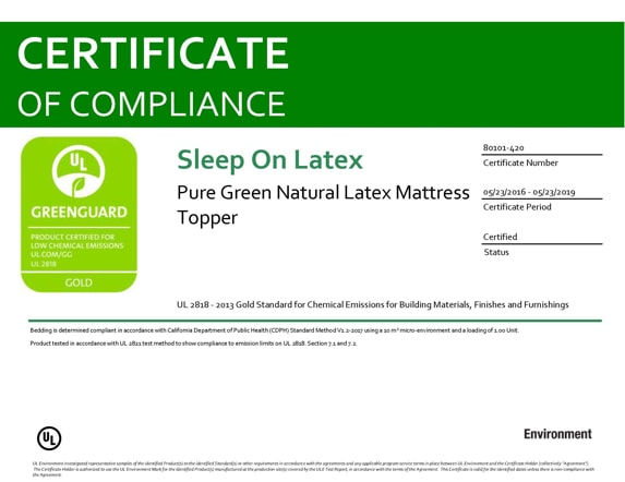 Pure Green Latex Mattress Topper Greenguard Gold Certificate