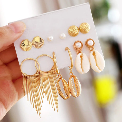Coco Shell Earrings- Set of 6