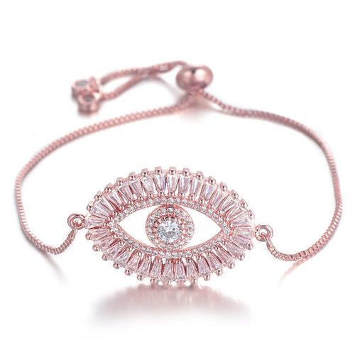 Zircon Evil Eye Bracelet- Rose Gold