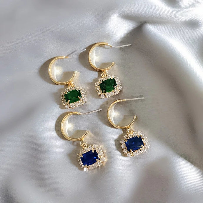 Angel Earrings- Emerald & Sapphire