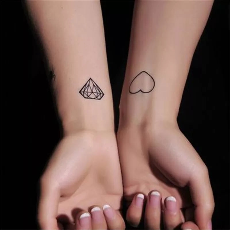 Diamond & Hearts Tattoo