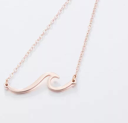 Ocean Wave Necklace- Rose Gold