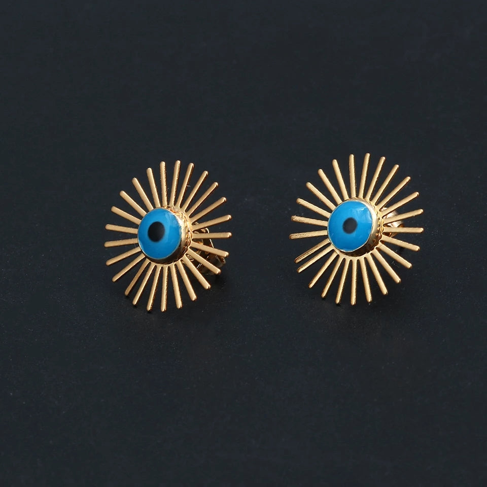Evil Eye Sunray Earrings