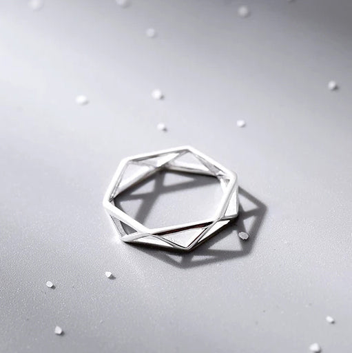 Hex Ring- 925 Silver