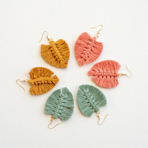 Macrame Earrings- Peach