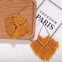 Load image into Gallery viewer, Macrame Earrings- Mustard