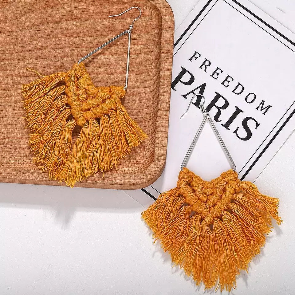 Macrame Earrings- Mustard