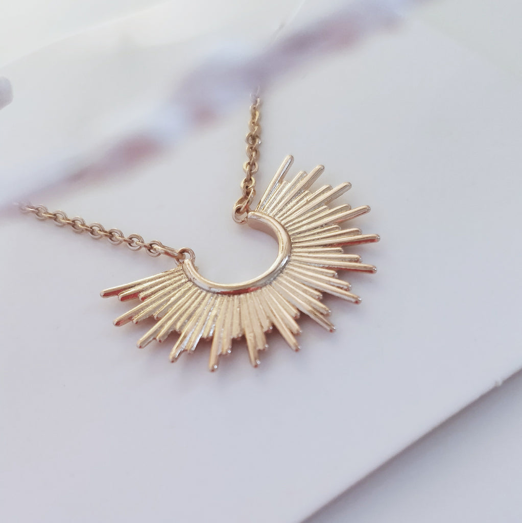 Rose Gold Tribal Sun Necklace